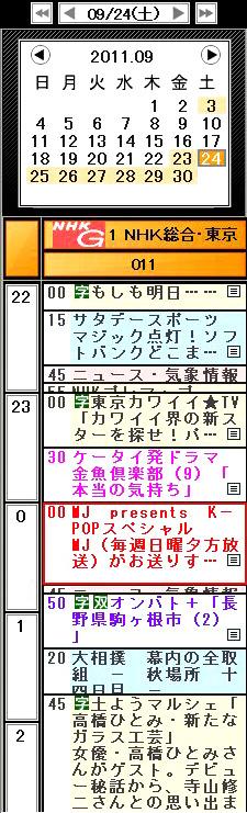 2011년 9월 24일 24시부터 NHK방송에서「MJ presents K-POP 스페셜」