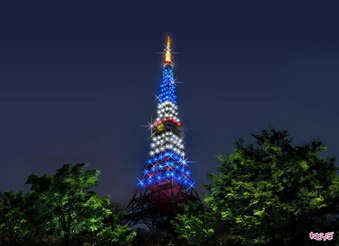 도쿄타워 도라이몽색으로 라이트업/東京タワー「ドラえもん」色にライトアップ image